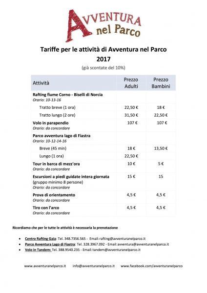 3_Avventura nel Parco - Prezzi per strutture ricettive
